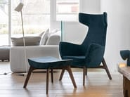 Fabric wingchair with footstool VAMP - Dall'Agnese
