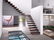 L-shaped U-shaped steel cantilevered staircase in kit form WALL - Fontanot Spa