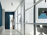 Wall System 3 partition with LCD glasses able to switch from transparent to opaque, ensuring in that way the privacy