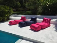 Polyester garden armchair with footstool X-LONG - XPOUF by EXPAND HOME DESIGN
