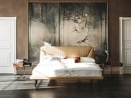 Leather double bed with upholstered headboard AMADEUS - Cattelan Italia