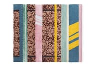 Rectangular striped wool and silk rug B1 | Rug - Golran