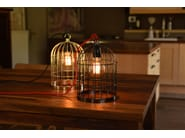 Metal pendant lamp / table lamp BIRD CAGE BLACK PEARL CABLE RED - FILAMENTSTYLE