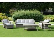 Contemporary style synthetic fibre footstool BORNEO | Footstool - Tectona