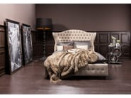 Fabric double bed with tufted headboard CITY SPIRIT LINEN NATURAL - KARE-DESIGN