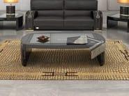 Tavolino basso rettangolare in pelle da salotto TEXAS PLUS | Tavolino rettangolare - Formitalia Group