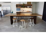 Low solid wood stool with footrest CORKTOWN   Low stool - hollis+morris
