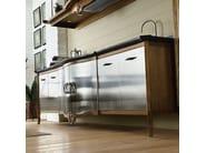 Cucina componibile in acciaio inox e legno DECHORA - COMPOSIZIONE 02 - Marchi Cucine
