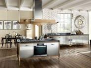 Cucina componibile in acciaio inox e legno DECHORA - COMPOSIZIONE 04 - Marchi Cucine