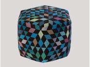 Pouf imbottito in lana DIAMOND MEDALLION BLUE-GREEN | Pouf - Golran