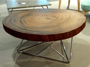 Low round steel and wood coffee table Coffee table TALI - Altinox Minimal Design