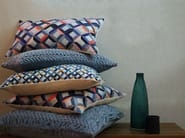 Square hand embroidered cushion HAND STITCHED STRIPED FLOWER TEAL - Nitin Goyal London