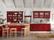 Lacquered ash kitchen with handles with peninsula ASOLO | Kitchen with peninsula - DIBIESSE