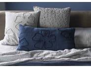 Square hand embroidered linen cushion QUADRIFOGLIO | Square cushion - LA FABBRICA DEL LINO by Bergianti & Pagliani