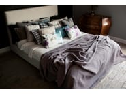 Leather double bed with upholstered headboard LUNA - SITS