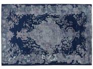 Patterned handmade rectangular rug MARIE ANTOINETTE DARK BLUE - Golran