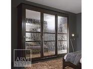 Lacquered wardrobe with sliding doors NAIMA | Wood and glass wardrobe - Arvestyle