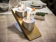 Caminetto da tavolo in acciaio a bioetanolo OBLIQUE TABLETOP DOUBLE - GlammFire