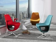 Easy chair with 4-spoke base with armrests with storage space PELIKAN 10F - profim