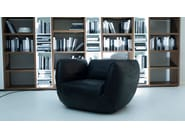 Leather easy chair with armrests PLUFF | Easy chair - Paolo Castelli