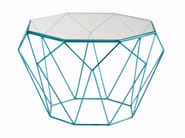 Octagonal glass and steel coffee table PRECIOUS - ROCHE BOBOIS