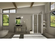 Corner glass and aluminium shower cabin STILA 2000 | Corner shower cabin - DUKA