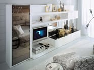 Wall-mounted lacquered TV wall system LALTROGIORNO 821 - TUMIDEI