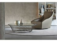 Round Glass and Stainless Steel coffee table TESO - MOLTENI & C.