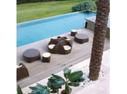 Low Round glass and aluminium garden side table COCONUT | Garden side table - Roberti Rattan