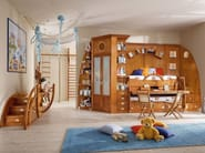 Solid wood bunk bed with cabinet 244 | Bed with cabinet - Caroti