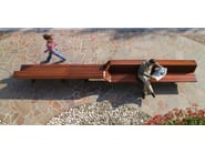 Wooden Bench with back SEDIS TORSION - Metalco