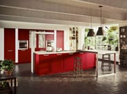 Lux with framed door in Ginger red lacquer.