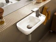 Rectangular wall-mounted ceramic handrinse basin PASS   Wall-mounted handrinse basin - CERAMICA FLAMINIA