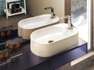 Countertop oval ceramic washbasin with overflow PASS 60 | Countertop washbasin - CERAMICA FLAMINIA