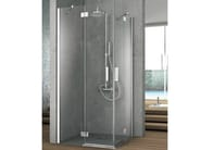 Corner crystal shower cabin with two shutter doors ELEMENT | Corner shower cabin - GRUPPO GEROMIN