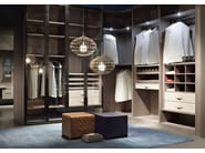 Atlante walk-in closet in stained ash and details covered with nabuk