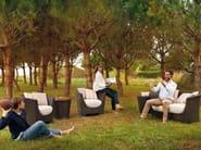 Upholstered garden armchair with armrests AGORÀ | Garden armchair - Atmosphera