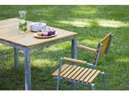 Steel and wood garden chair with armrests ROBIN | Garden chair - sixay furniture