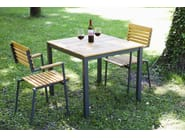 Square steel and wood garden table ROBIN | Garden table - sixay furniture