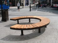 Sectional Curved steel and wood Bench CHRONOS 90° - Factory Street Furniture
