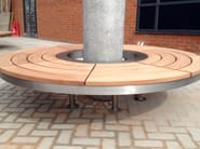Curved steel and wood Bench OH - Factory Street Furniture