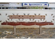 Wooden Bench with back SERPENTINE | Bench with back - Factory Street Furniture