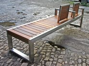 Stainless steel and wood Bench with back SKOP | Bench with back - Factory Street Furniture