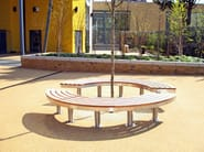 Curved stainless steel and wood Bench TREE ACCESS - Factory Street Furniture
