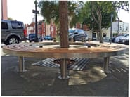 Stainless steel and wood Bench TREE FULL | Curved Bench - Factory Street Furniture