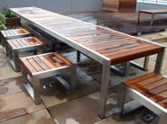 Stainless steel and wood Table for public areas SKOP | Table for public areas - Factory Street Furniture
