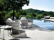 Upholstered garden armchair with armrests TOSCA | Garden armchair - TRIBÙ