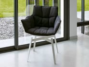 Upholstered fabric chair with armrests HUSK | Fabric chair - B&B Italia