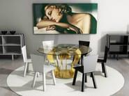 Round glass and aluminium table ENIGMA - altreforme