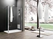 Corner tempered glass shower cabin with tray with sliding door OTTO PREMIUM | Corner shower cabin - ARBLU